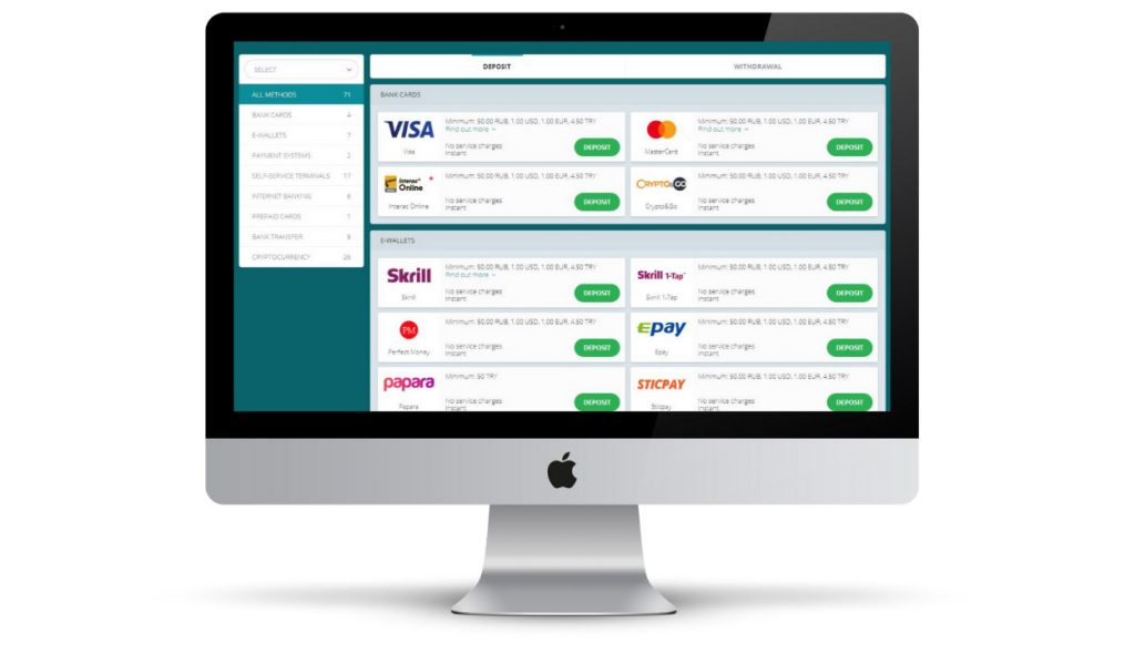 Payment options 22Bet