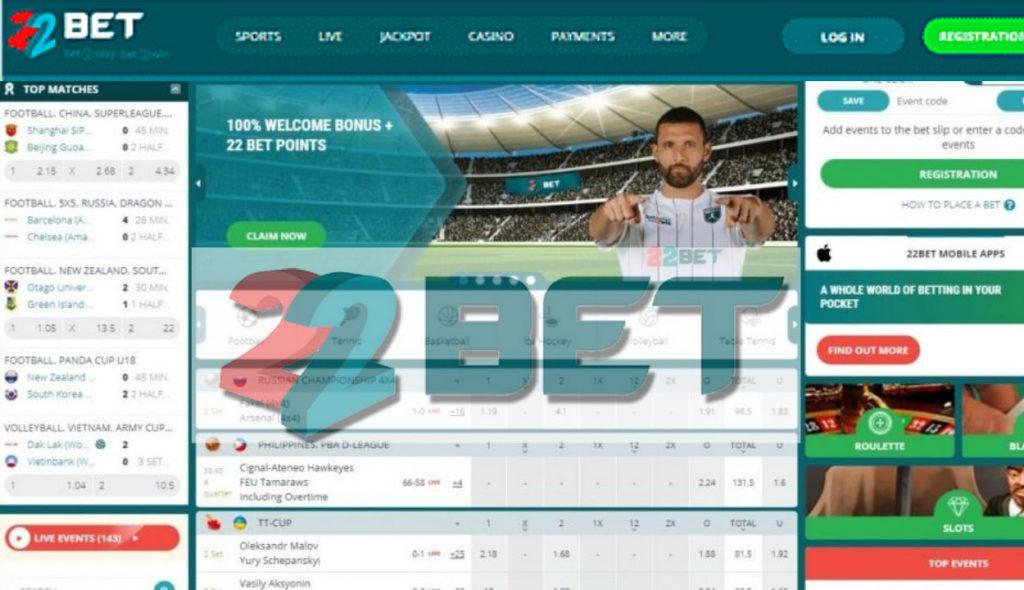 22Bet website